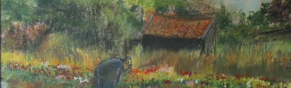 De boer met Oost-Indische kers.The farmer and the flowers( nasturtiums)