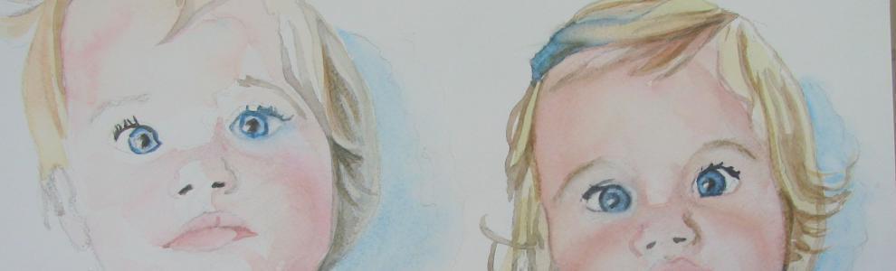 Uitsnede: Kinderportretten/Tweeling, aquarel
