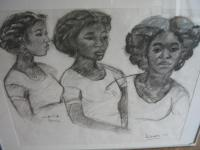 Drie meisjes portretten, three portraits of girls from the Caraiben