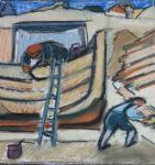 Opbrengen van het pek voor bescherming van het schip voor de Ark van Noaach