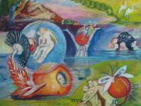 Pasteltekening van Philomène n.a.v.Jeroen Bosch