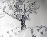 pentekening met zwarte inkt